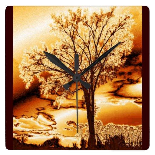 Molten Gold Tree of Life Wall Clock