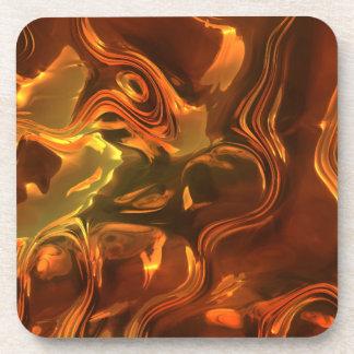 Molten Metal Abstract Art Design Cork Coasters