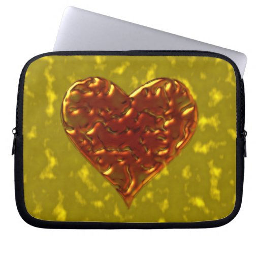 Molten Metal Heart Design Computer Sleeves