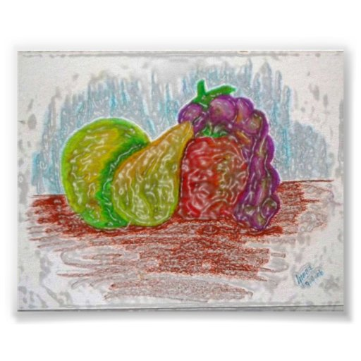 Molten Plastic Fruit Print