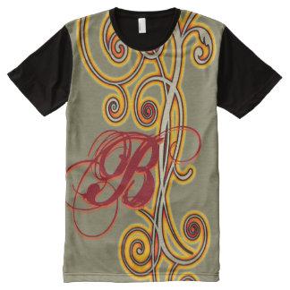 Molten Scroll Initial All-Over Print T-shirt