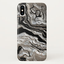 Molten Silver Black Marble Pattern iPhone X Case