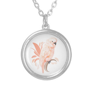 Moluccan Cockatoo Round Pendant Necklace