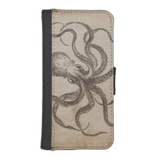 Molusco de la vida marina del pulpo del vintage de funda tipo billetera para iPhone 5