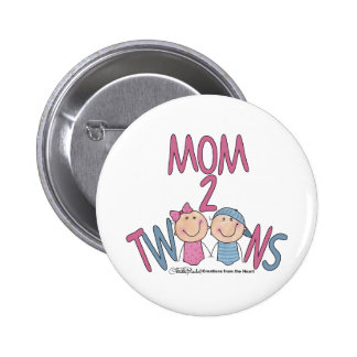 Mom 2 Twins Boy and Girl Buttons
