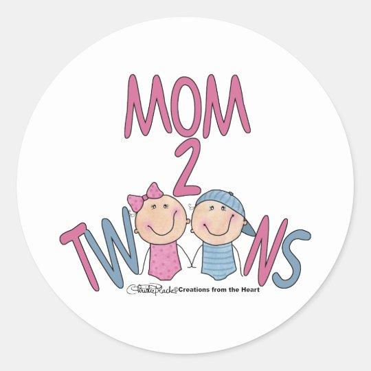 Mom 2 Twins Boy and Girl Classic Round Sticker