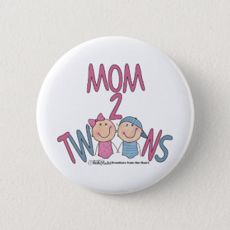 Mom 2 Twins Boy and Girl Pinback Button