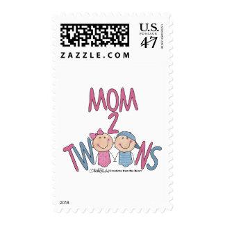 Mom 2 Twins Boy and Girl Postage Stamp