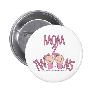 Mom 2 Twins Girls Buttons