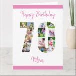 "Mom 70th Birthday Number 70 Photo Collage Card<br><div class=""desc"">Personalize this big 70th birthday card with up to 13 different photographs. Designed for Mom (although Mom can be edited to a name or whatever you want), the number 70 photo collage is a thoughtful way to give a birthday card with a unique and special quality. The template is set...</div>"
