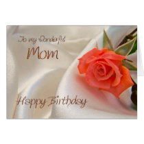 Mom, a birthday card with a pink rose
