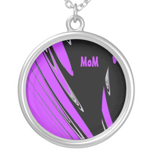 MoM Abstract Black and Purple Design Necklace zazzle_necklace