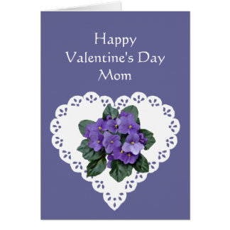 Mom African Violet Flower Valentine Poem Card