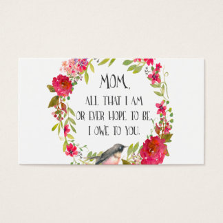 Mom All that I am Watercolor Print Business Card