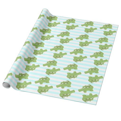 Mom and Baby Alligator Shower Wrapping Paper