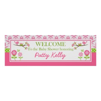 Mom and Baby Bird pink Shower Banner Personalize Poster