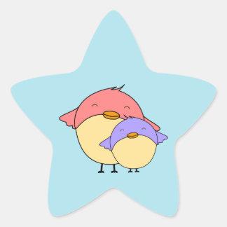 Mom and baby bird star sticker