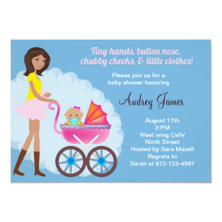 Mom and baby Buggie baby shower invitation
