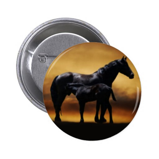 Mom and Baby colt 2 Inch Round Button