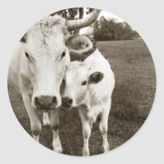 Mom and Baby Cow Classic Round Sticker