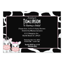 Mom and Baby Cow Print Baby Shower Invitation