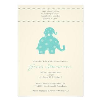 Mom and Baby Elephant Baby Boy Shower Invitation