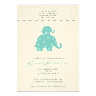 "Mom and Baby Elephant Baby Boy Shower Invitation 5"" X 7"" Invitation Card"