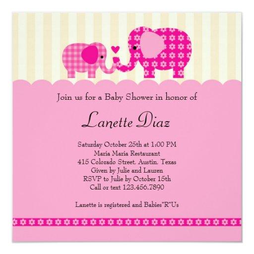 Mom and Baby Elephant Baby Girl Shower Invitation