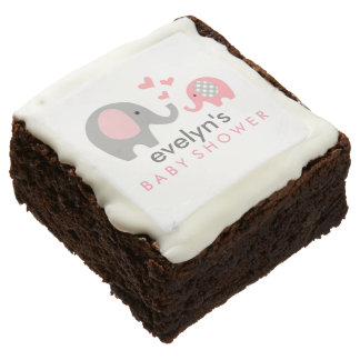 Mom and Baby Elephant Baby Shower Brownie Pink
