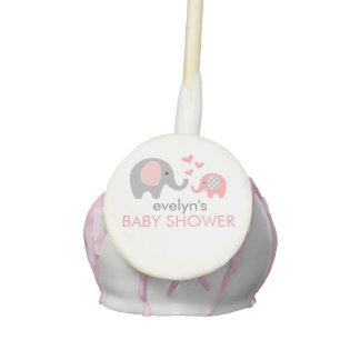 Mom and Baby Elephant Baby Shower Cake Pops Pink