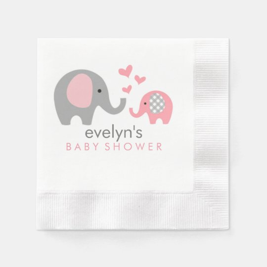 Mom And Baby Elephant Baby Shower Napkins Pink