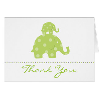 Mom and Baby Elephant Folded Thank You Card