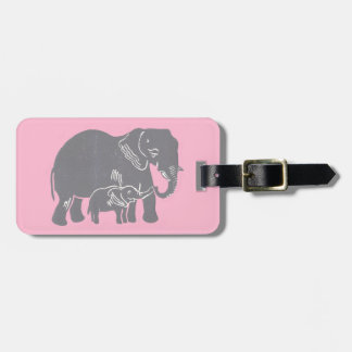 Mom and Baby Elephant with Pink Luggage Tag