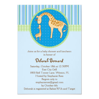Mom and Baby Giraffe Baby Boy Shower Invitation