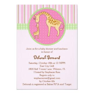 Mom and Baby Giraffe Baby Girl Shower Invitation