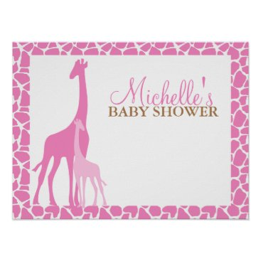 heartlocked Mom and Baby Giraffe Baby Shower Welcome Sign Poster