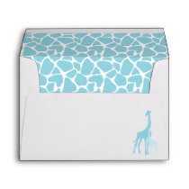 Mom and Baby Giraffe Boy Baby Shower Envelope
