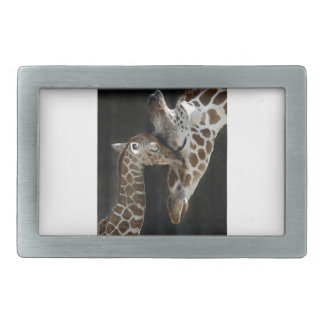 Mom and Baby Giraffe Cuddle Belt Buckle