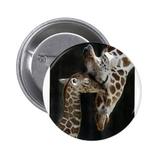 Mom and Baby Giraffe Cuddle Button