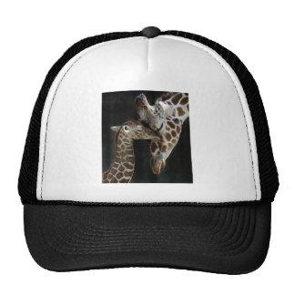Mom and Baby Giraffe Cuddle Mesh Hat