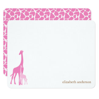 Mom and Baby Giraffe Flat Thank You Cards