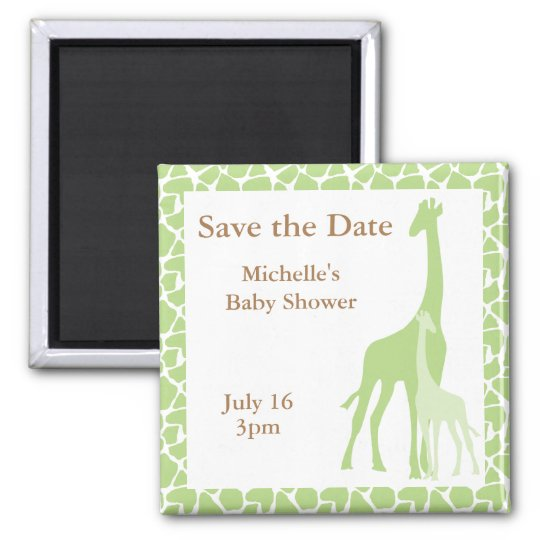 Mom and Baby Giraffe Save the Date Magnets