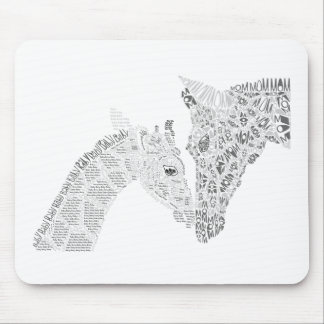 Mom and Baby Giraffe Typography Mouse Pad