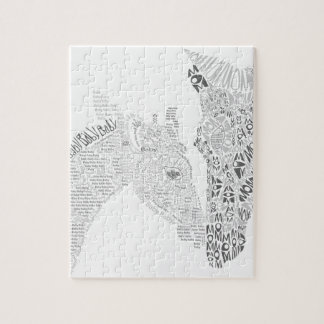 Mom and Baby Giraffe Typography Puzzles