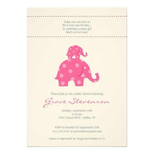 Mom And Baby Girl Elephant Baby Shower Invitation 5 Quot X 7