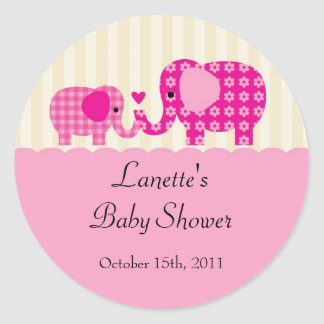 Mom and Baby Girl Elephant Favor Sticker
