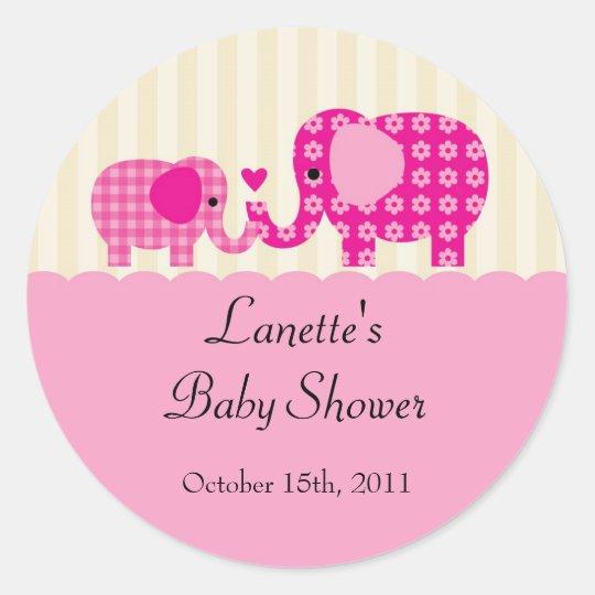 Mom and Baby Girl Elephant Favor Sticker
