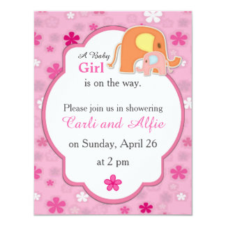 Mom and Baby Girl Elephant Shower Invitation