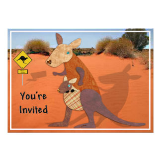Mom and Baby Kangaroo in the Outback Invite