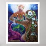 Mom and Baby Mermaids, Big Moon Poster